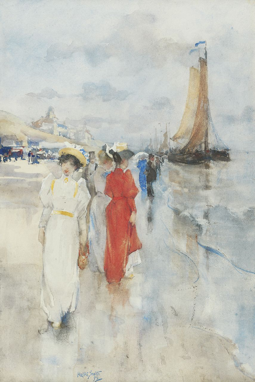 Smith H.  | Hobbe Smith, Elegant ladies strolling on the beach, Scheveningen, watercolour on paper 45.9 x 30.4 cm, signed l.l.c. and dated '94
