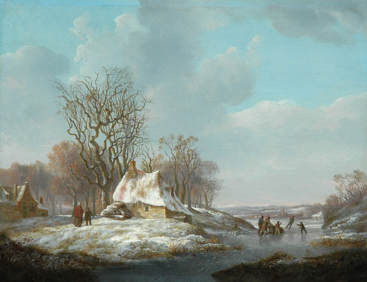 Nicolaas Barnouw | A winterlandscape with farmer's cottages and skaters, oil on panel, 21.5 x 27.8 cm, signed l.l.c.