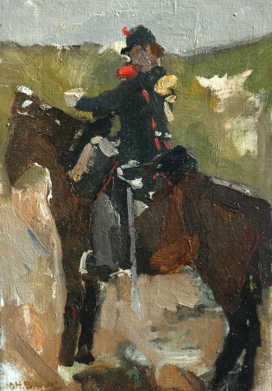 Breitner G.H.  | George Hendrik Breitner, A cavalrist on horseback, oil on canvas laid down on panel 37.3 x 26.6 cm, signed l.l.