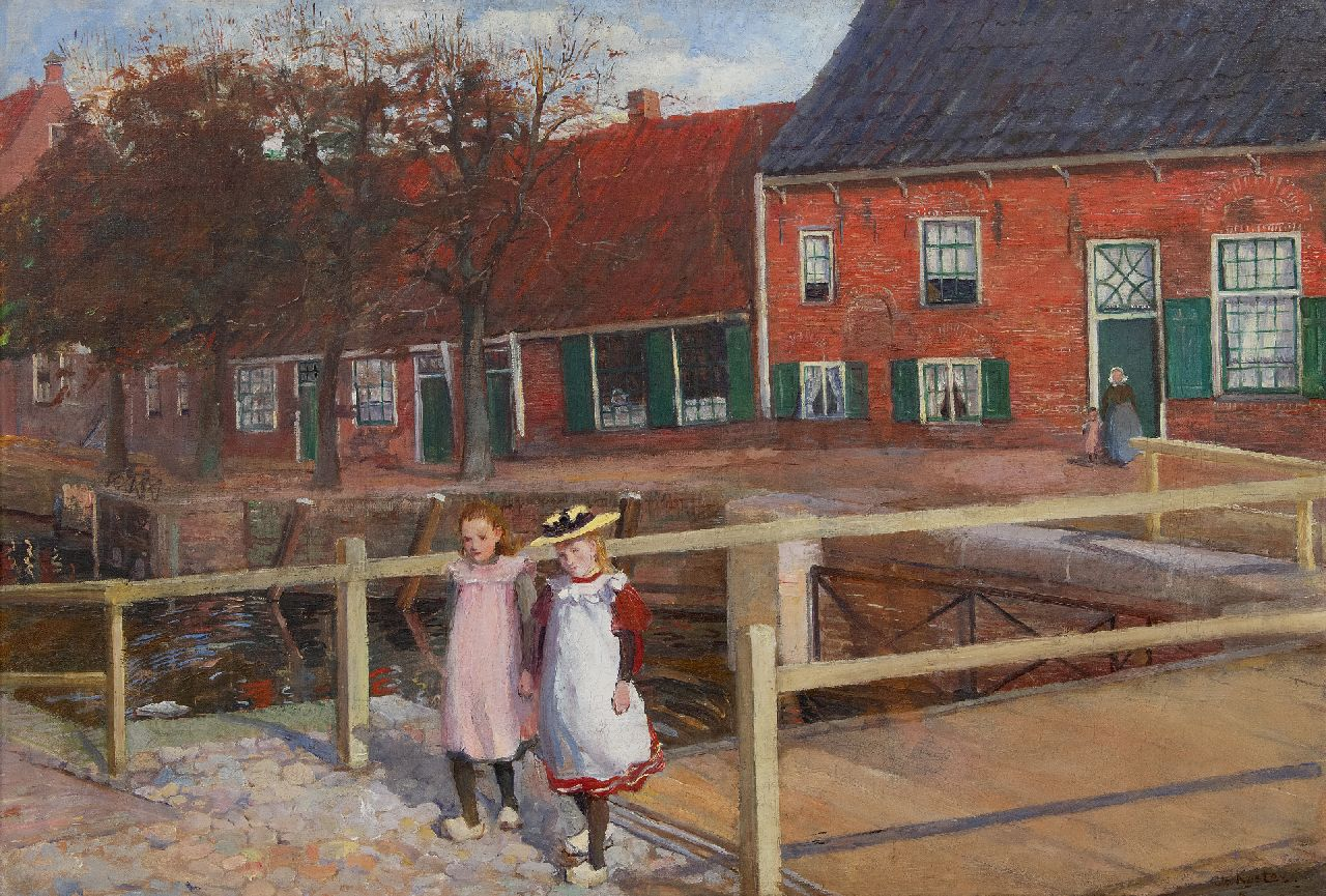 Jo Koster | Girls on a Sunday stroll, Hasselt, oil on canvas, 49.3 x 72.1 cm, signed l.r.