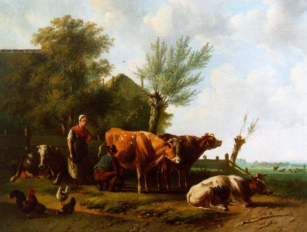 Verhoesen A.  | Albertus Verhoesen, A farmer's wife and cattle in a landscape, oil on canvas 35.0 x 46.0 cm, signed l.l. and dated 1860