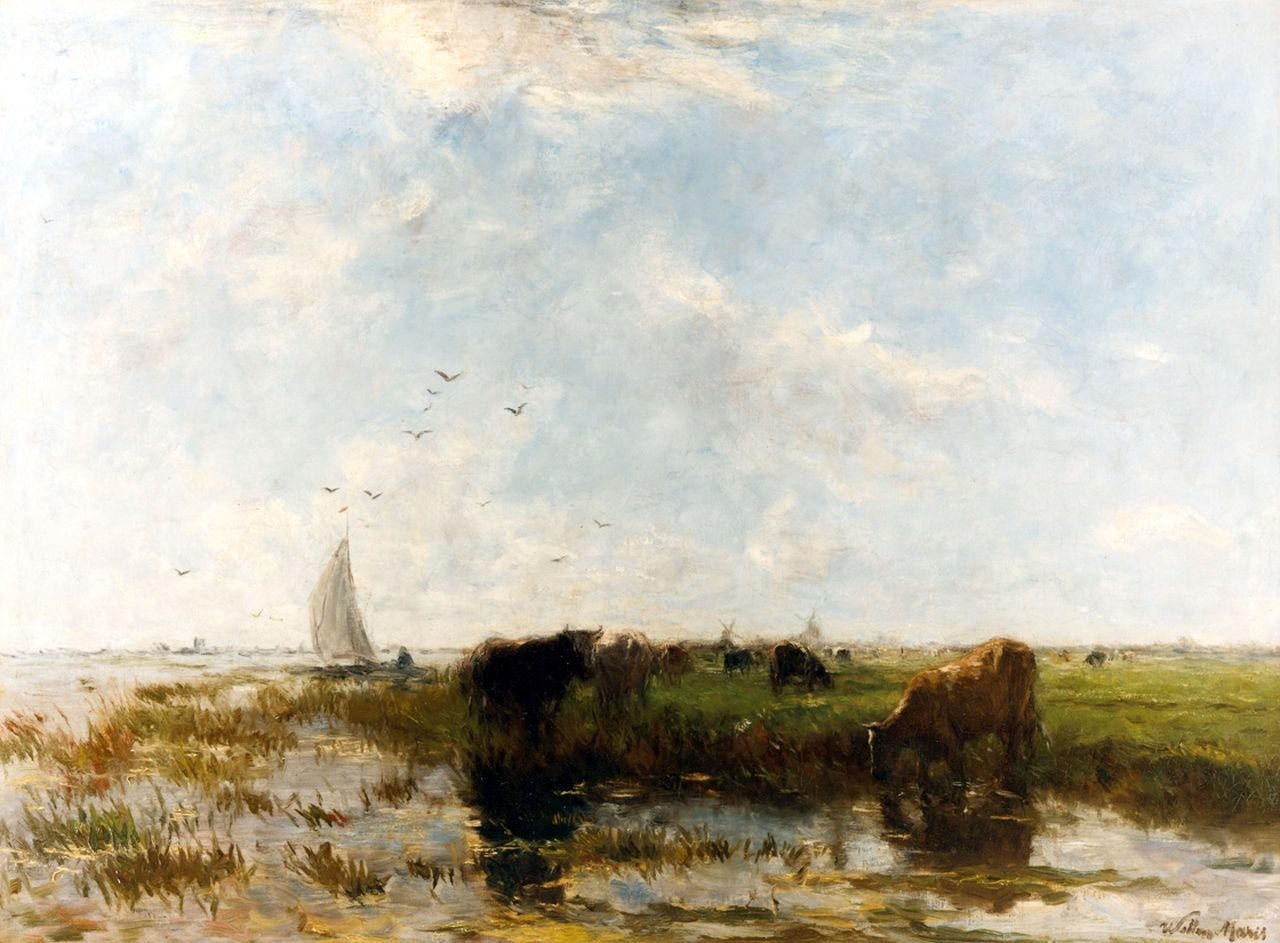 Maris W.  | Willem Maris, River view with cows grazing along the bank, oil on canvas 67.0 x 91.0 cm, signed l.r. and painted ca. 1875