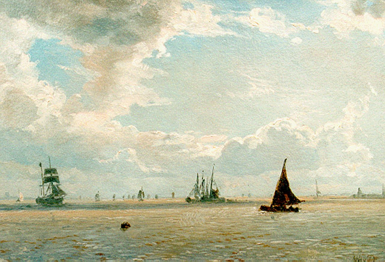 Deventer W.A. van | 'Willem' Anthonie van Deventer, Seascape, oil on canvas laid down on panel 20.5 x 28.3 cm, signed l.r. with initials