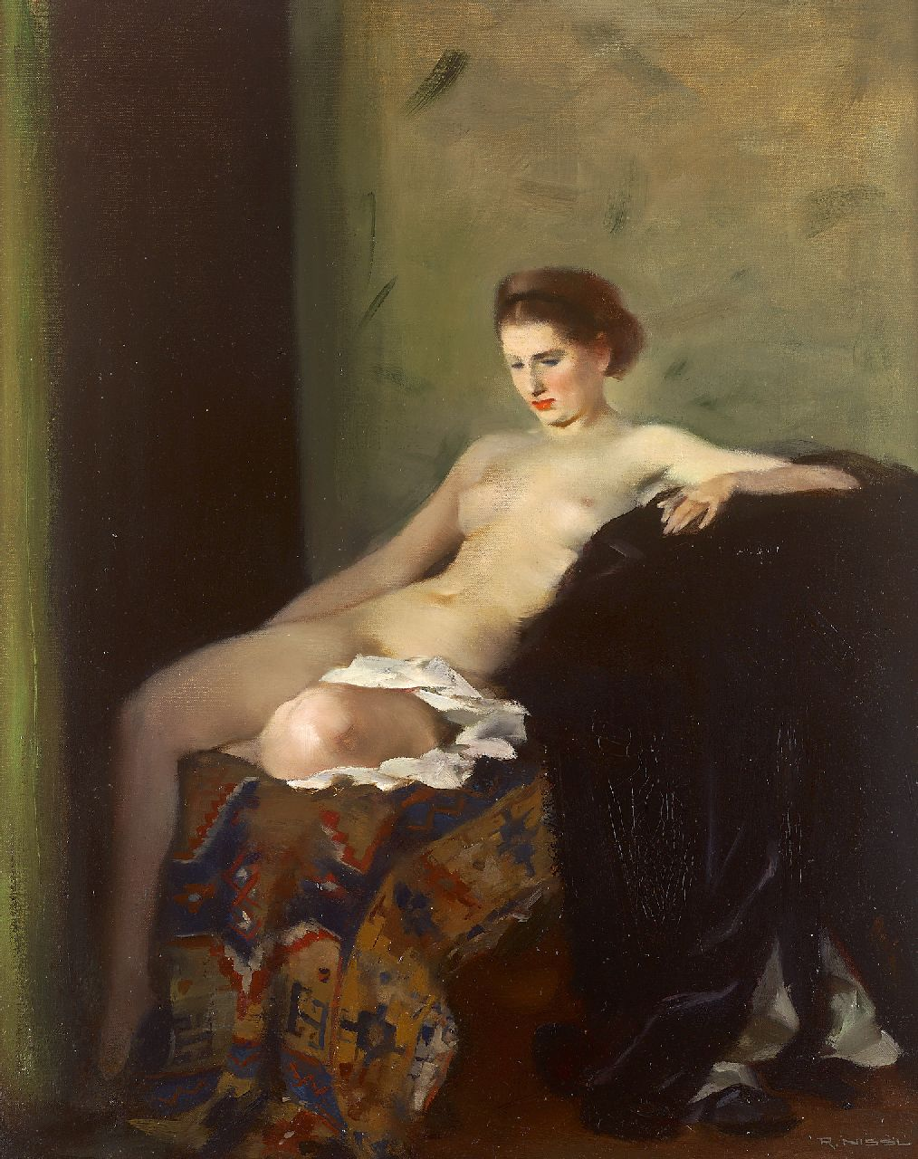 Rudolf Nissl | Seated nude on Persian rug, oil on canvas, 72.3 x 57.7 cm, signed l.r.