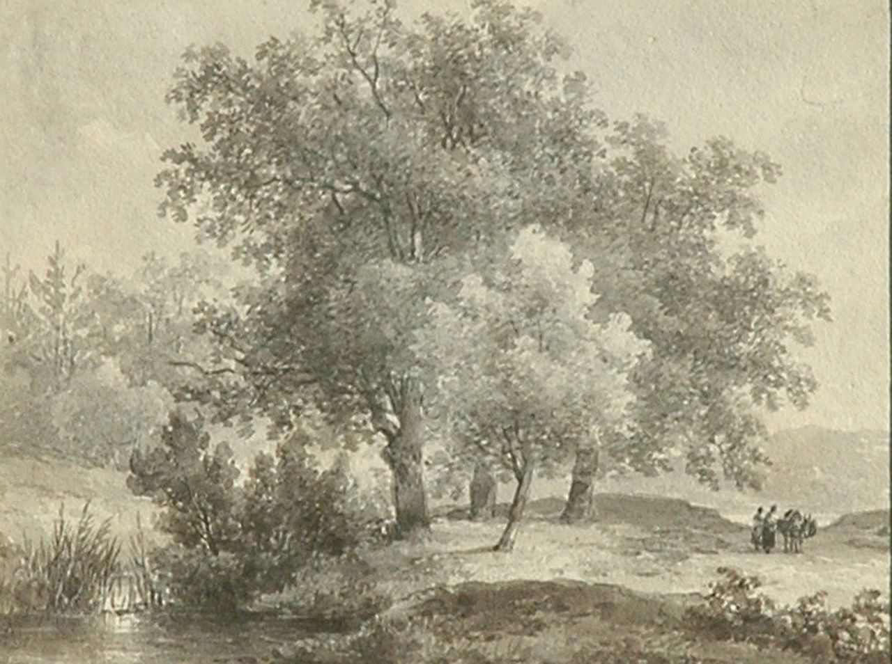Schelfhout A.  | Andreas Schelfhout, Travellers in a wooded landscape, brush in brown ink on paper 12.6 x 16.3 cm, signed on the reverse