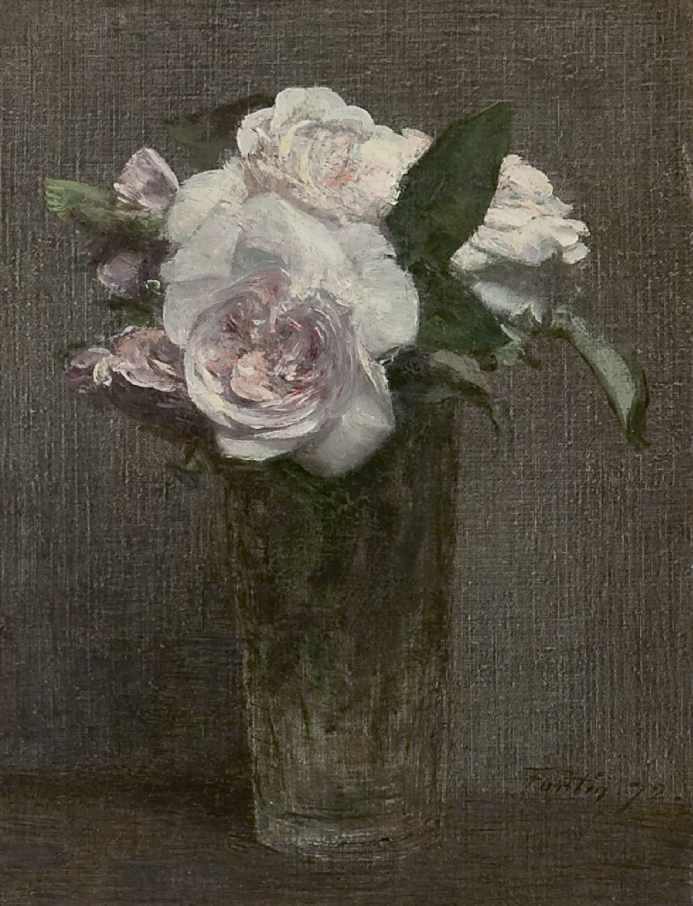 Fantin-Latour I.H.J.T.  | Ignace 'Henri' Jean Théodore Fantin-Latour, Roses in a glass vase, oil on canvas 28.3 x 21.8 cm, signed l.r. and painted '72