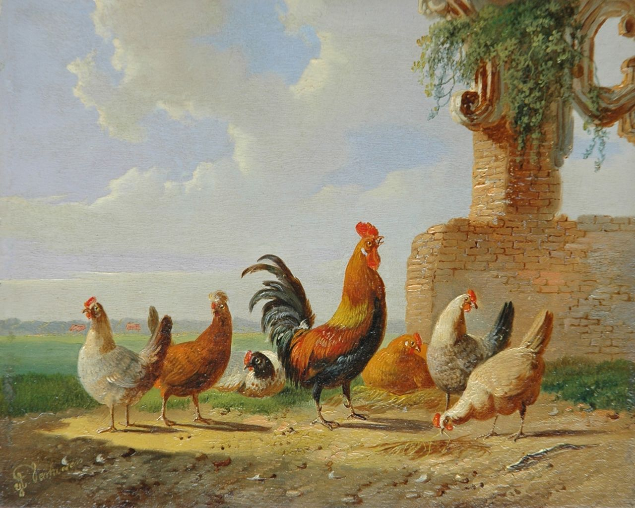 Verhoesen A.  | Albertus Verhoesen, A cock and his fowls in a summer landscape, oil on panel 13.6 x 17.0 cm, signed l.l.