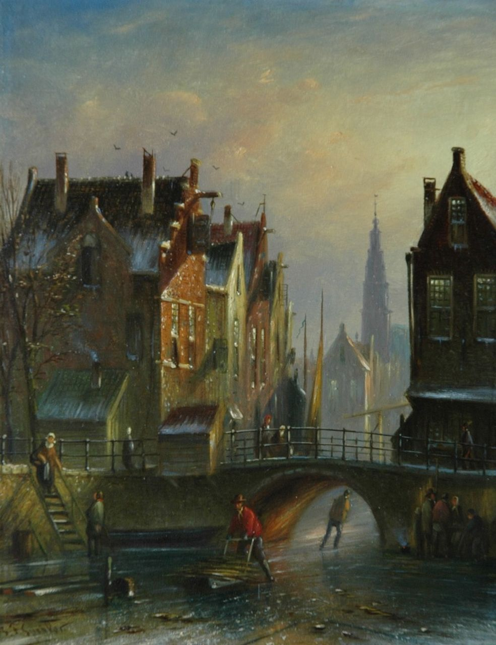 Spohler J.F.  | Johannes Franciscus Spohler, Figures on a Dutch canal in winter, oil on panel 20.5 x 16.0 cm, signed l.l.