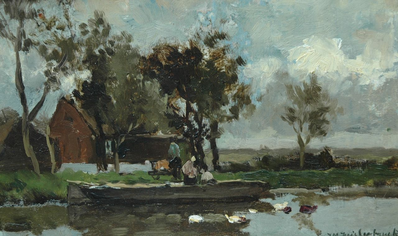 Weissenbruch H.J.  | Hendrik Johannes 'J.H.' Weissenbruch, Moored along the canal, oil on canvas laid down on board 19.8 x 31.8 cm, signed l.r.
