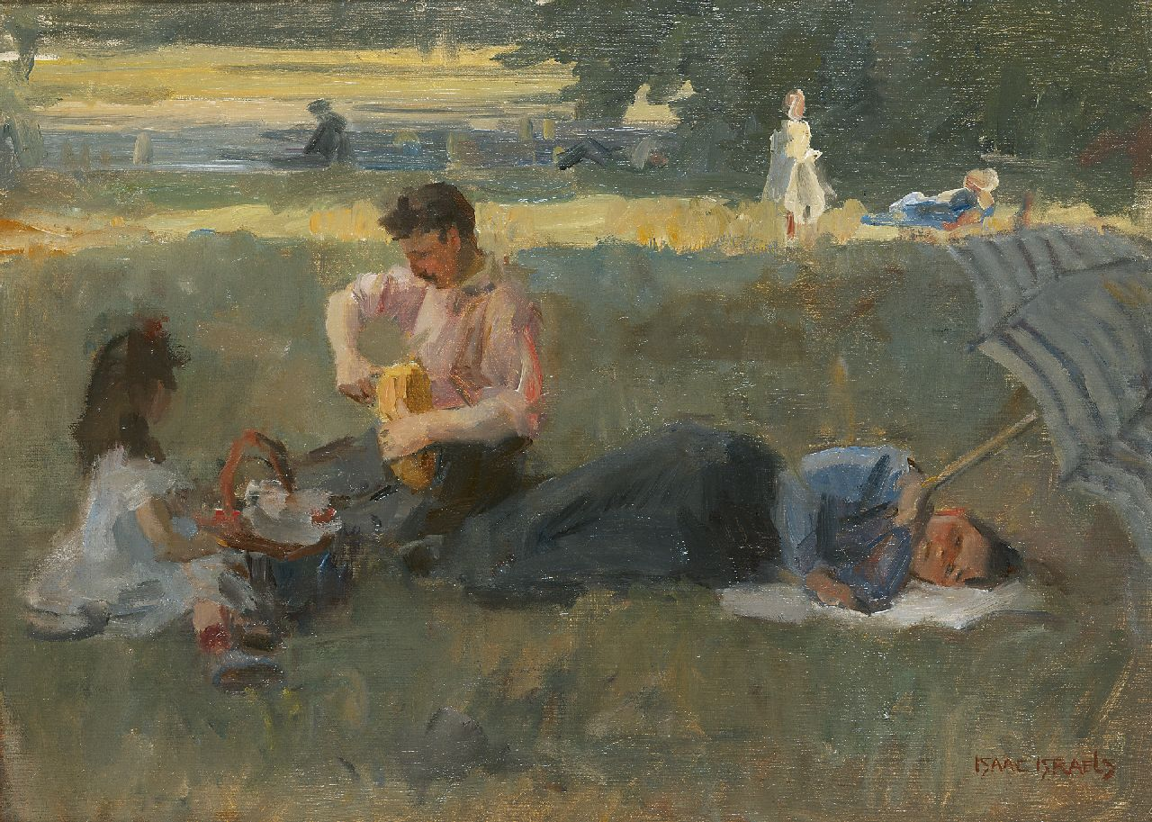 Israels I.L.  | 'Isaac' Lazarus Israels, Picnic in the Bois de Boulogne, Paris, oil on canvas 43.5 x 60.0 cm, signed l.r. and painted circa 1905