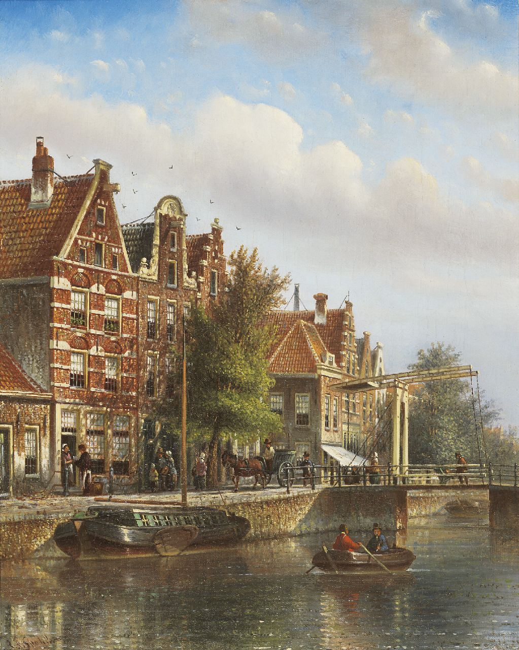 Spohler J.F.  | Johannes Franciscus Spohler, A town scene in summer, oil on canvas 44.0 x 35.0 cm, signed l.l.