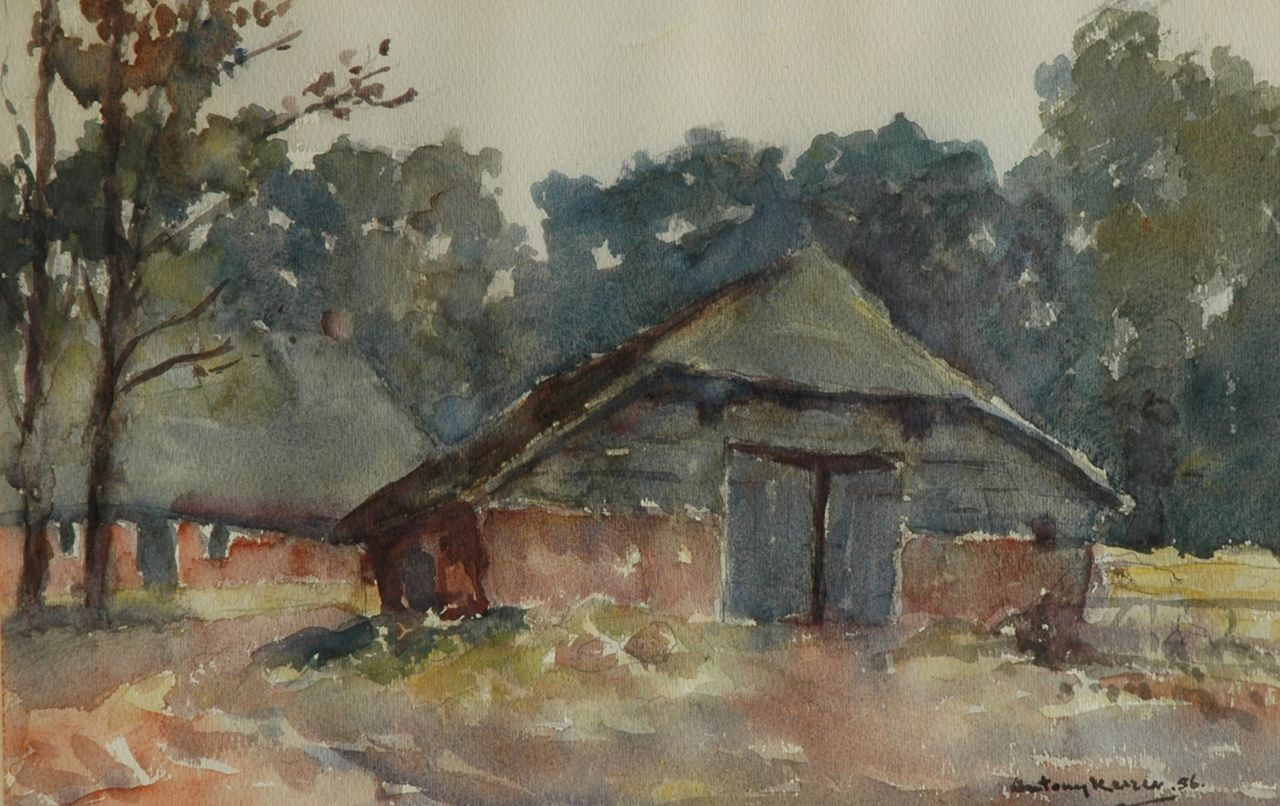 Antonius Albert Keizer | Farmstead, Zweeloo, watercolour on paper, 38.0 x 56.8 cm, signed l.r. and dated '56