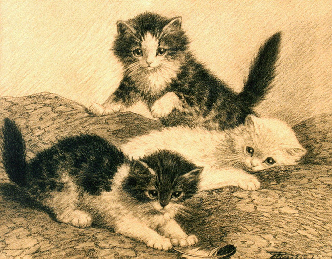 Raaphorst C.  | Cornelis Raaphorst, Three kittens playing, drawing on paper 27.5 x 34.0 cm, signed l.r.