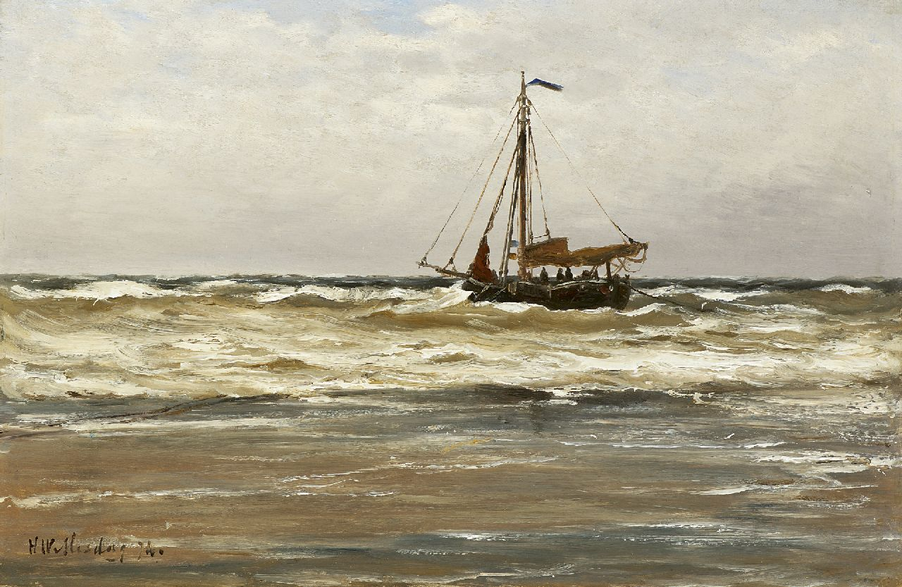 Mesdag H.W.  | Hendrik Willem Mesdag, Seaview with a fishing boat, oil on panel 26.0 x 39.5 cm, signed l.l. and dated '74