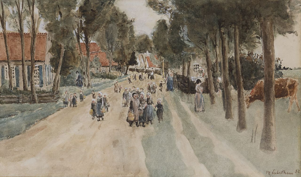 Max Liebermann | A village street in Holland, watercolour on paper, 18.3 x 29.7 cm, signed l.r. and dated '82