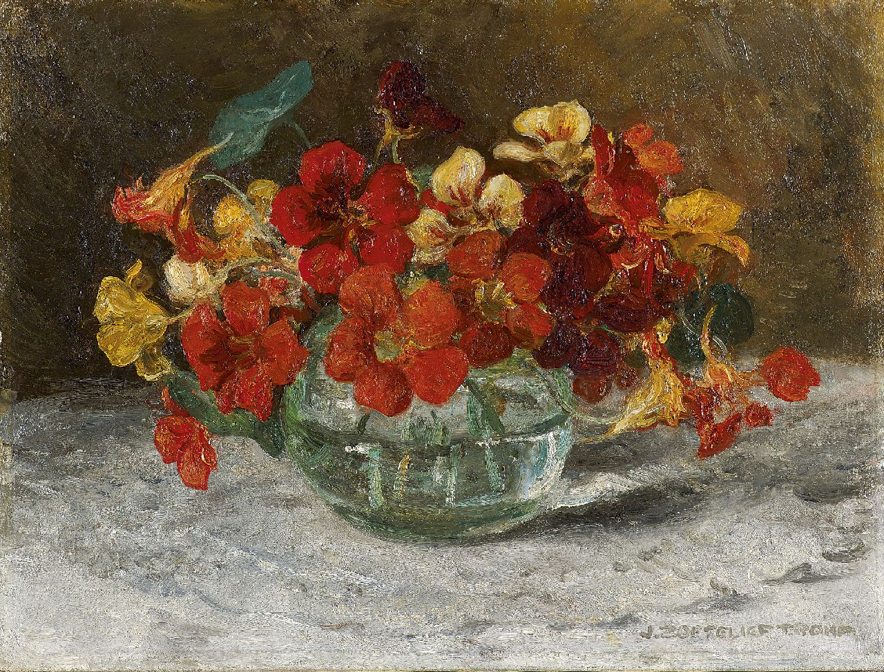 Zoetelief Tromp J.  | Johannes 'Jan' Zoetelief Tromp, Nasturtium, oil on canvas 30.3 x 40.3 cm, signed l.r.