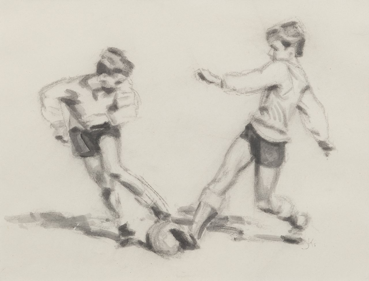 Bernardus Johannes Everhardus Kempers | Football player 3, charcoal and ink on paper, 38.0 x 48.0 cm, signed l.r. with monogram