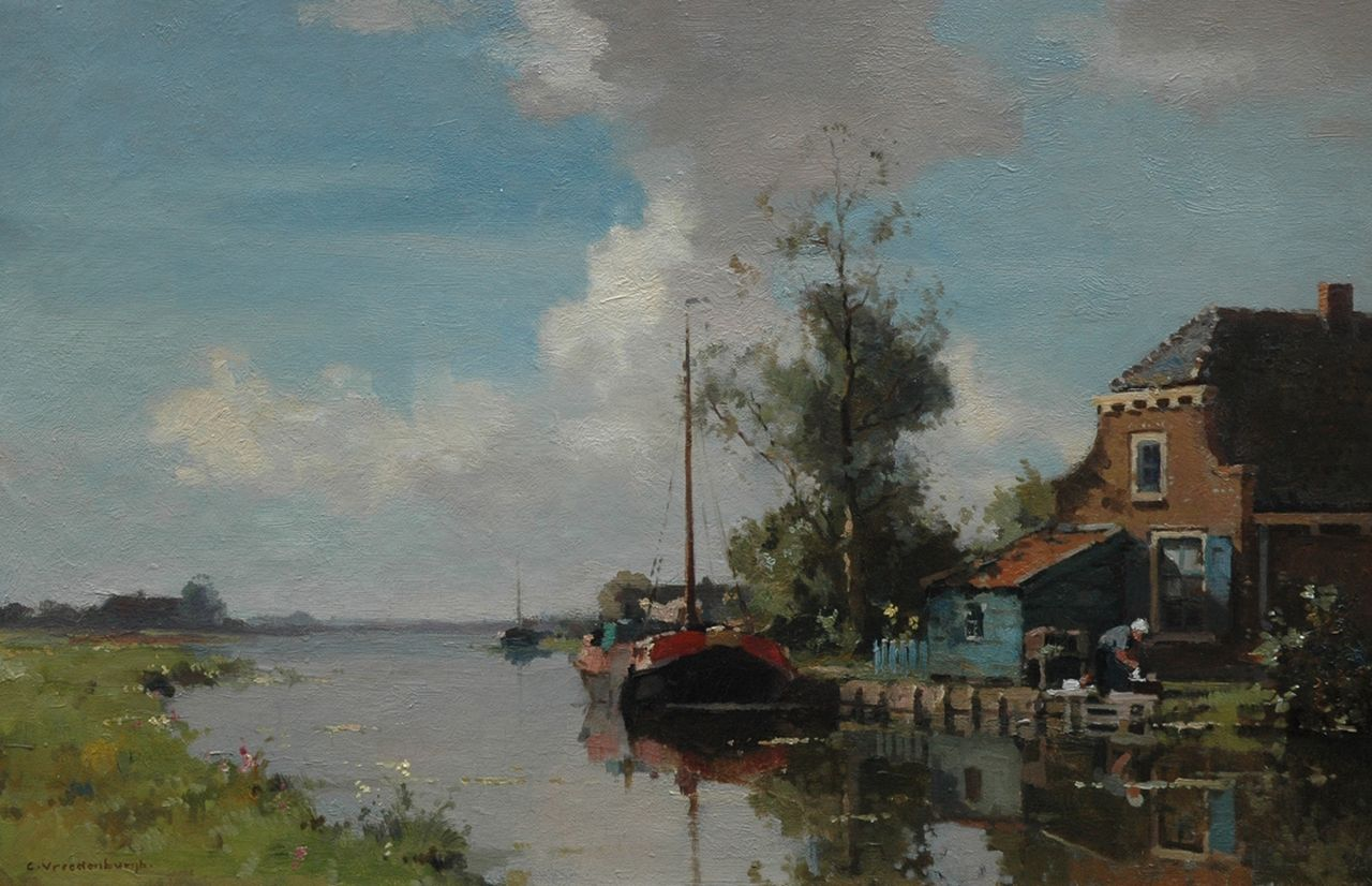 Vreedenburgh C.  | Cornelis Vreedenburgh | Paintings offered for sale | A farm on the waterfront with sailing barge, oil on canvas 40.5 x 60.5 cm, signed l.l.