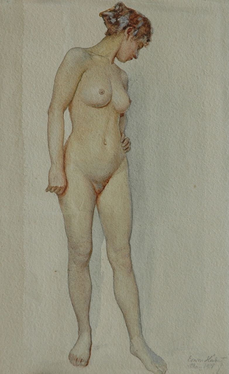 Erwin Hubert | Female nude, standing, pencil and watercolour on paper, 33.0 x 20.0 cm, signed l.r. and dated Mai 1918