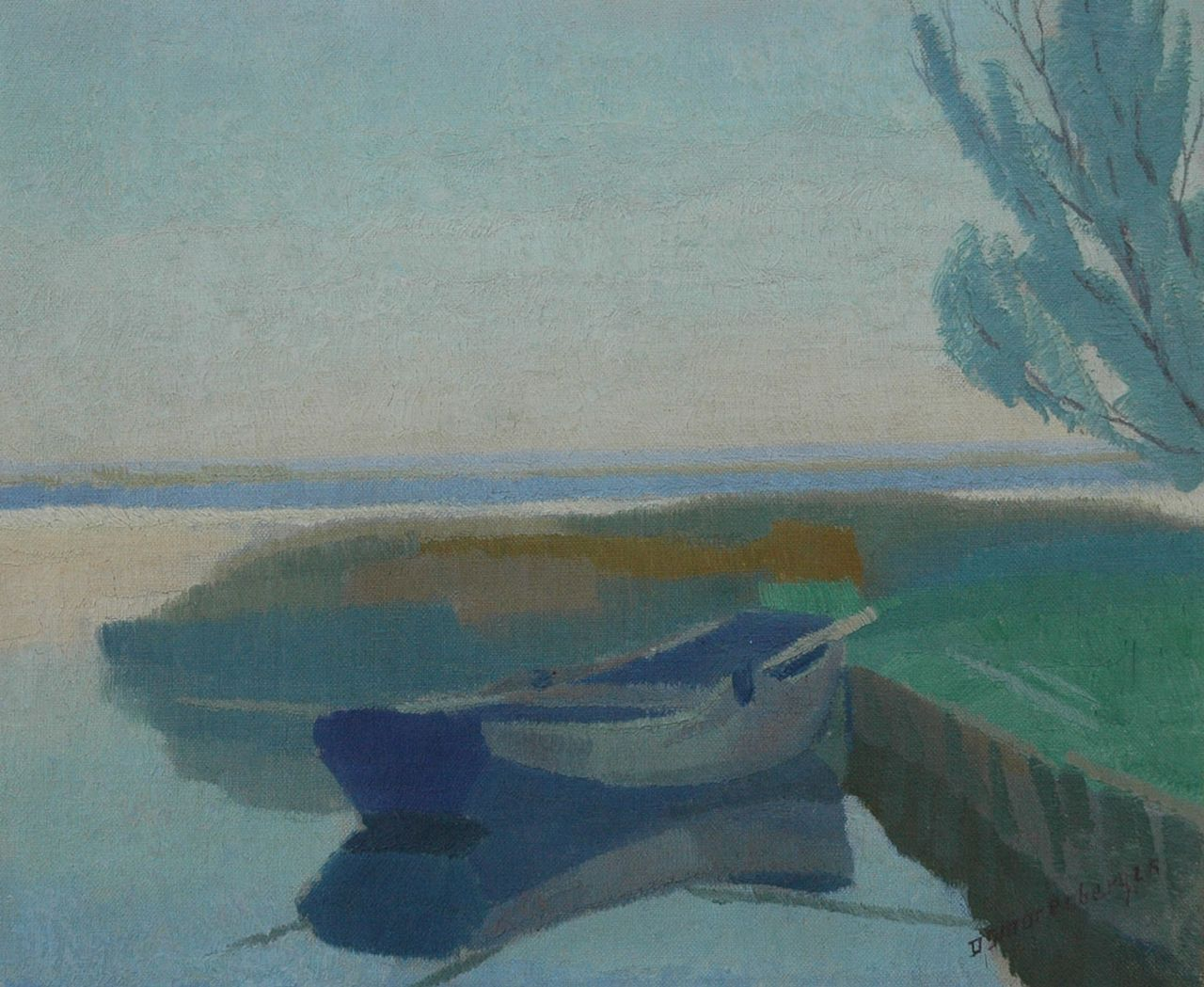 Smorenberg D.  | Dirk Smorenberg, Moored flatboat, oil on canvas 25.5 x 30.6 cm, signed l.r. and painted '25