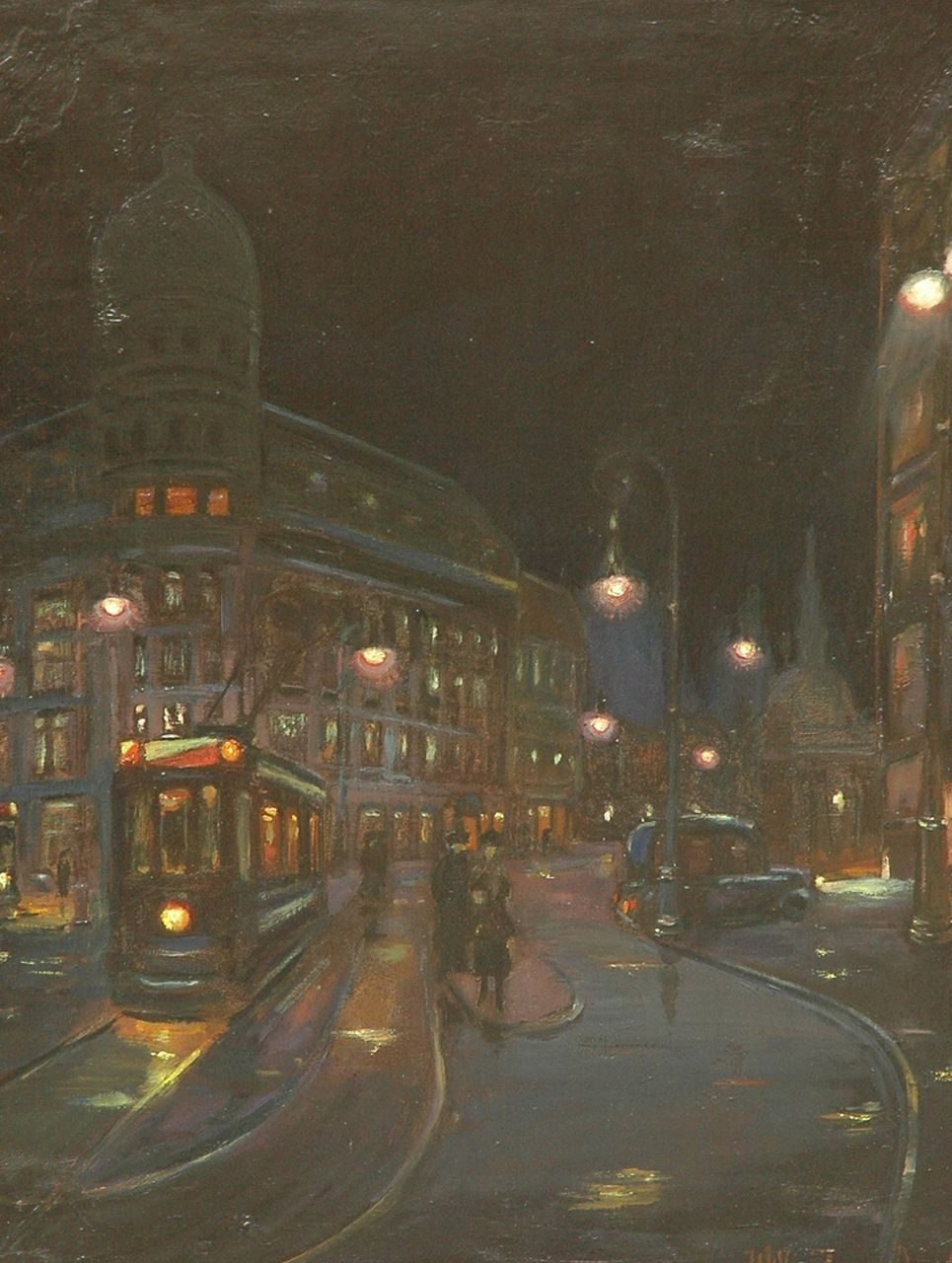 Willem Janzen | The Leidseplein, Amsterdam by night, oil on canvas, 69.2 x 54.5 cm, signed l.r. and painted Apr. 1917