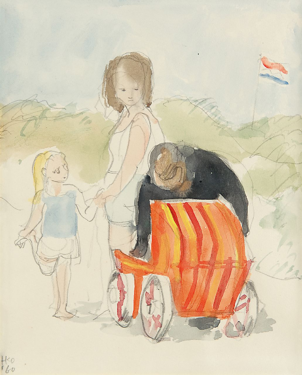 Kamerlingh Onnes H.H.  | 'Harm' Henrick Kamerlingh Onnes | Watercolours and drawings offered for sale | Family in the dunes on Terschelling, pencil and watercolour on paper 18.8 x 16.2 cm, signed l.l. with monogram and painted '60