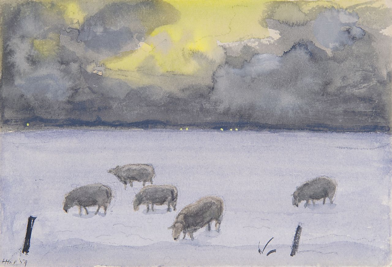 Kamerlingh Onnes H.H.  | 'Harm' Henrick Kamerlingh Onnes | Watercolours and drawings offered for sale | A winter landschape with sheep, Terschelling, chalk and watercolour on paper 12.0 x 17.5 cm, signed l.l. and reverse with monogram and dated recto and reverse '59