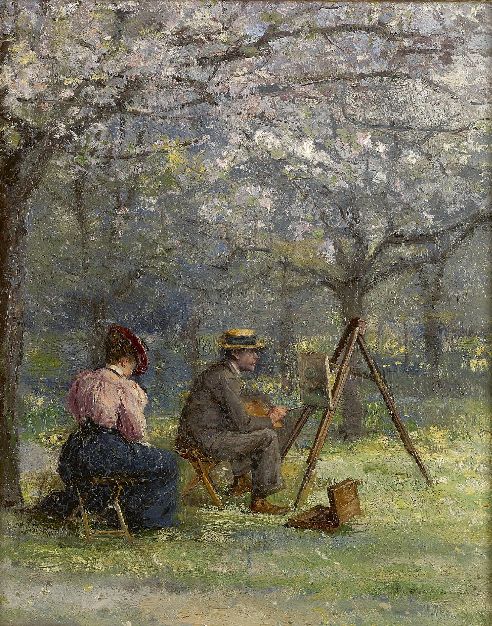 Louis van Engelen | The plein air painter, oil on panel, 24.5 x 19.7 cm, signed l.r.