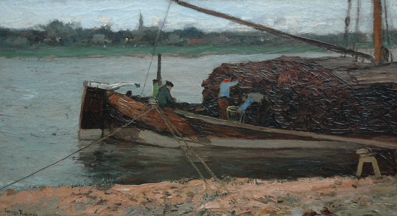 Kuijpers C.  | Cornelis Kuijpers, Moored peat barge, oil on canvas 30.1 x 52.6 cm, signed l.l.