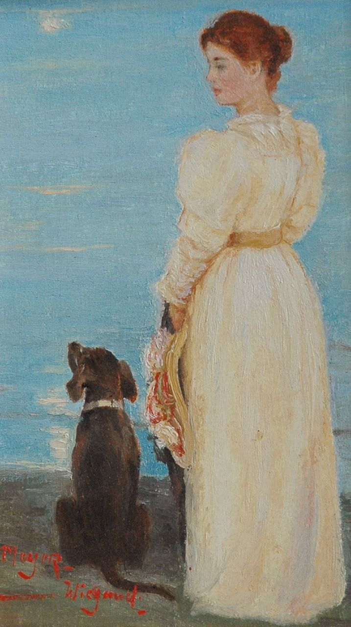 Meyer-Wiegand R.D.  | Rolf Dieter Meyer-Wiegand, Woman with a dog near the water's edge, oil on panel 16.0 x 20.0 cm, signed l.l.