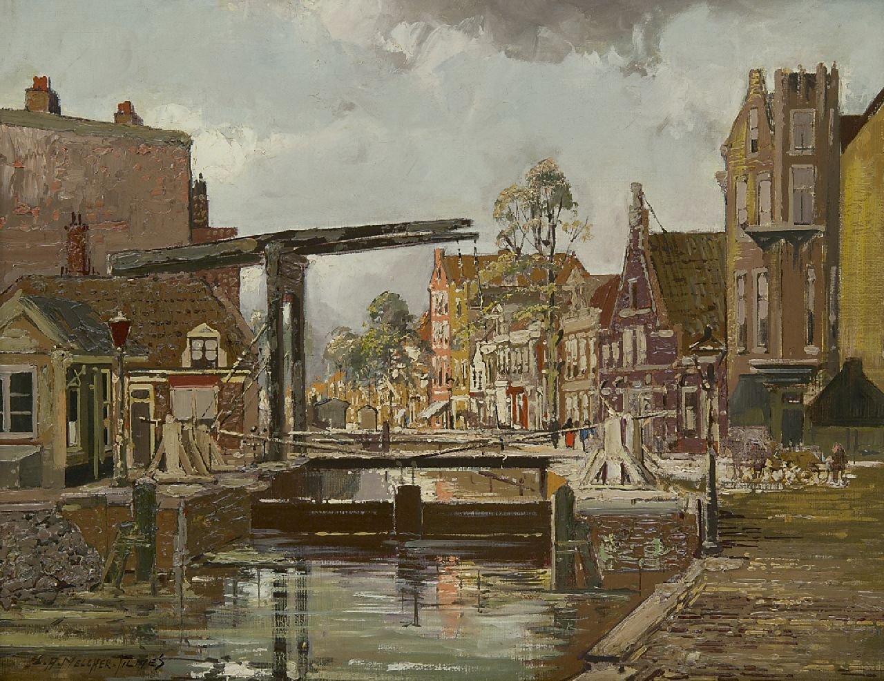 Jan Hermanus Melcher Tilmes | Drawbridge and lock at the Overtoom, Amsterdam, oil on canvas, 35.2 x 44.7 cm, signed l.l.