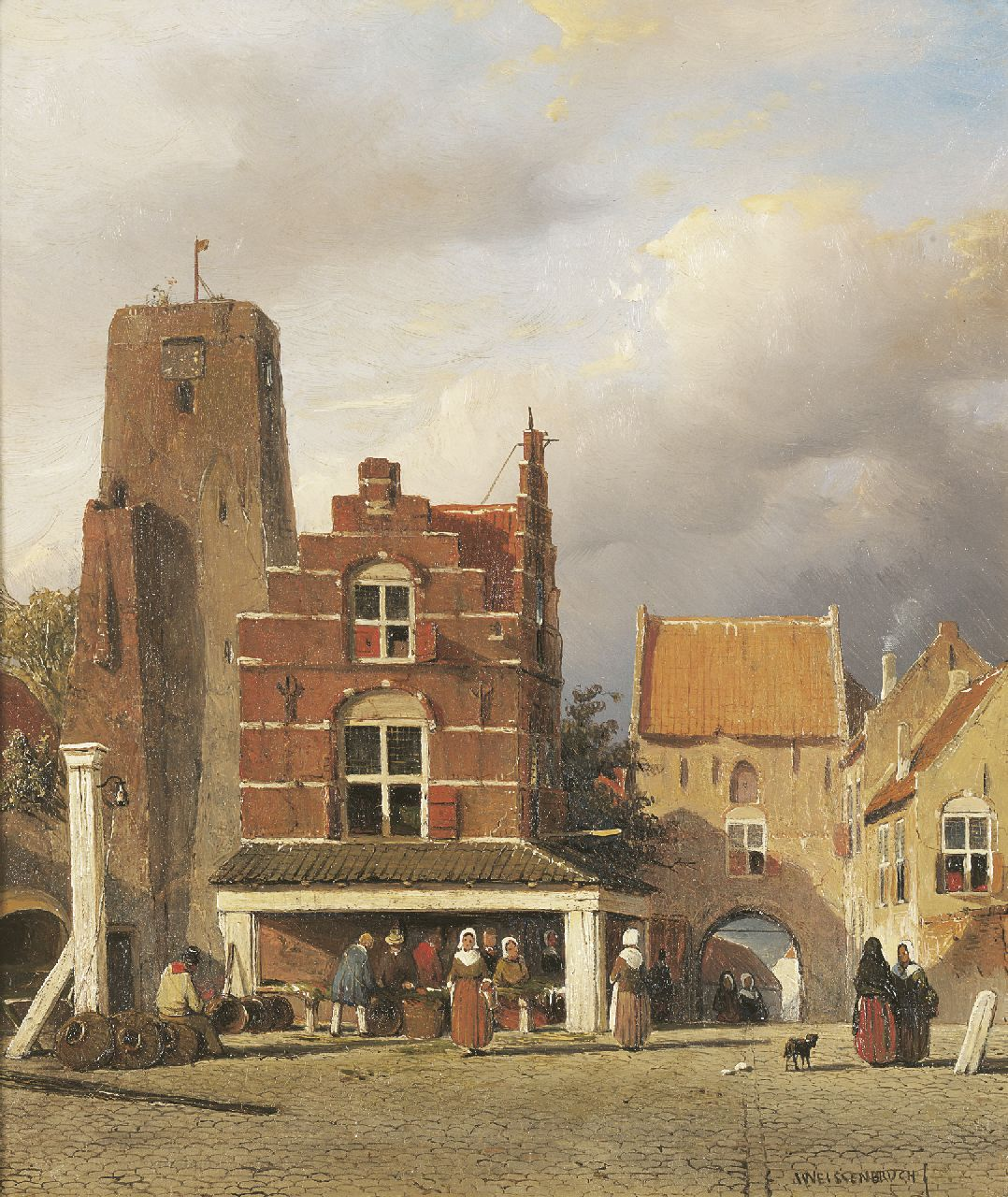 Weissenbruch J.  | Johannes 'Jan' Weissenbruch, Figures on the fishmarket of Woudrichem, with the Hoftoren, oil on panel 30.9 x 25.7 cm, signed l.r.