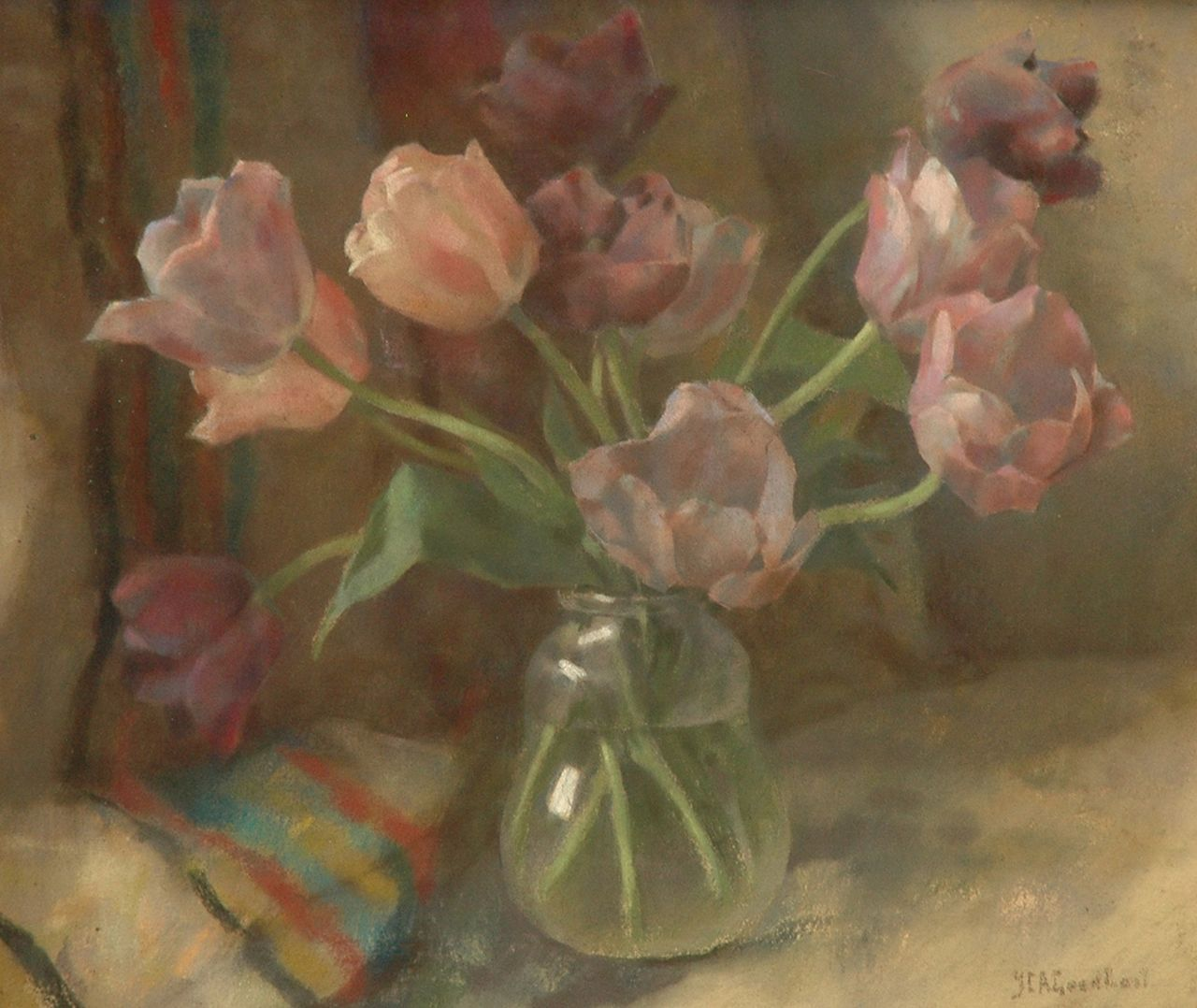 Goedhart J.C.A.  | 'Jan' Catharinus Adriaan Goedhart, Tulips, pastel on canvas 50.0 x 60.0 cm, signed l.r.