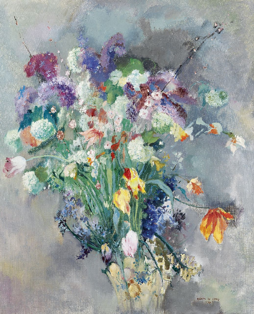Jong G. de | Gerben 'Germ' de Jong, Spring flowers, oil on canvas 81.4 x 65.4 cm, signed l.r. and dated 1943