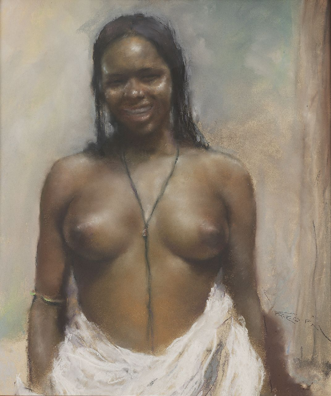 Fried P.  | Pal Fried, African nude, pastel on paper 80.0 x 70.0 cm, signed l.r.