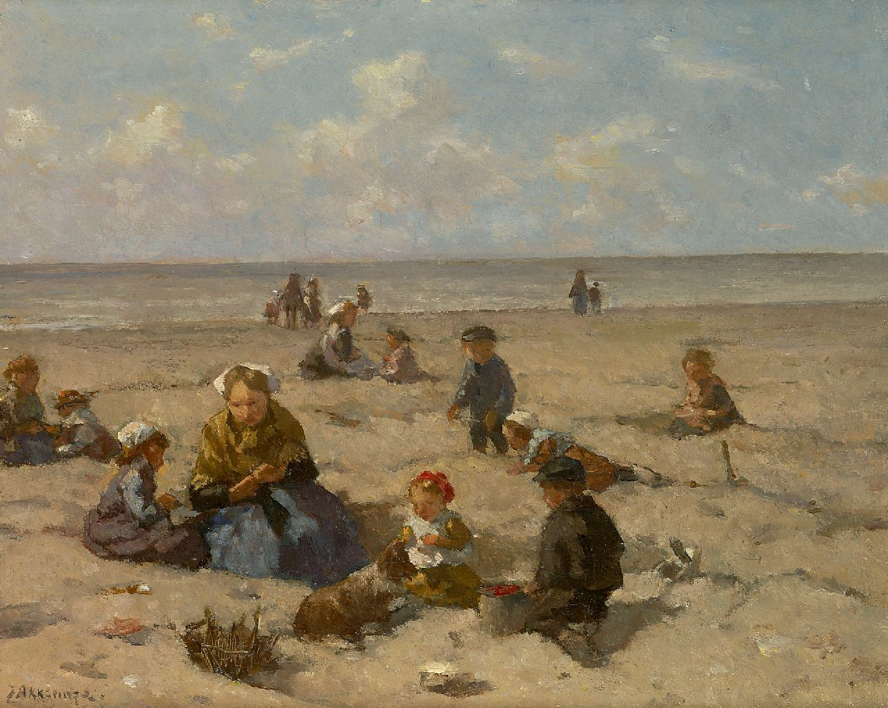 Akkeringa J.E.H.  | 'Johannes Evert' Hendrik Akkeringa | Paintings offered for sale | Playing on the beach, oil on canvas 26.7 x 33.0 cm, signed l.l. and on the reverse and dated 1937 on the reverse