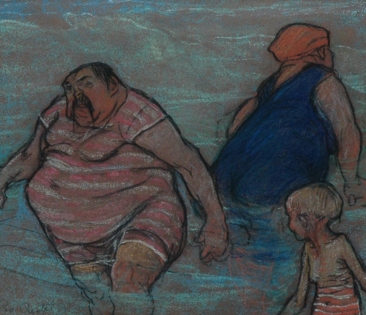 Gestel L.  | Leendert 'Leo' Gestel, Family taking a bath, charcoal and pastel on paper 20.9 x 24.2 cm, signed l.l.