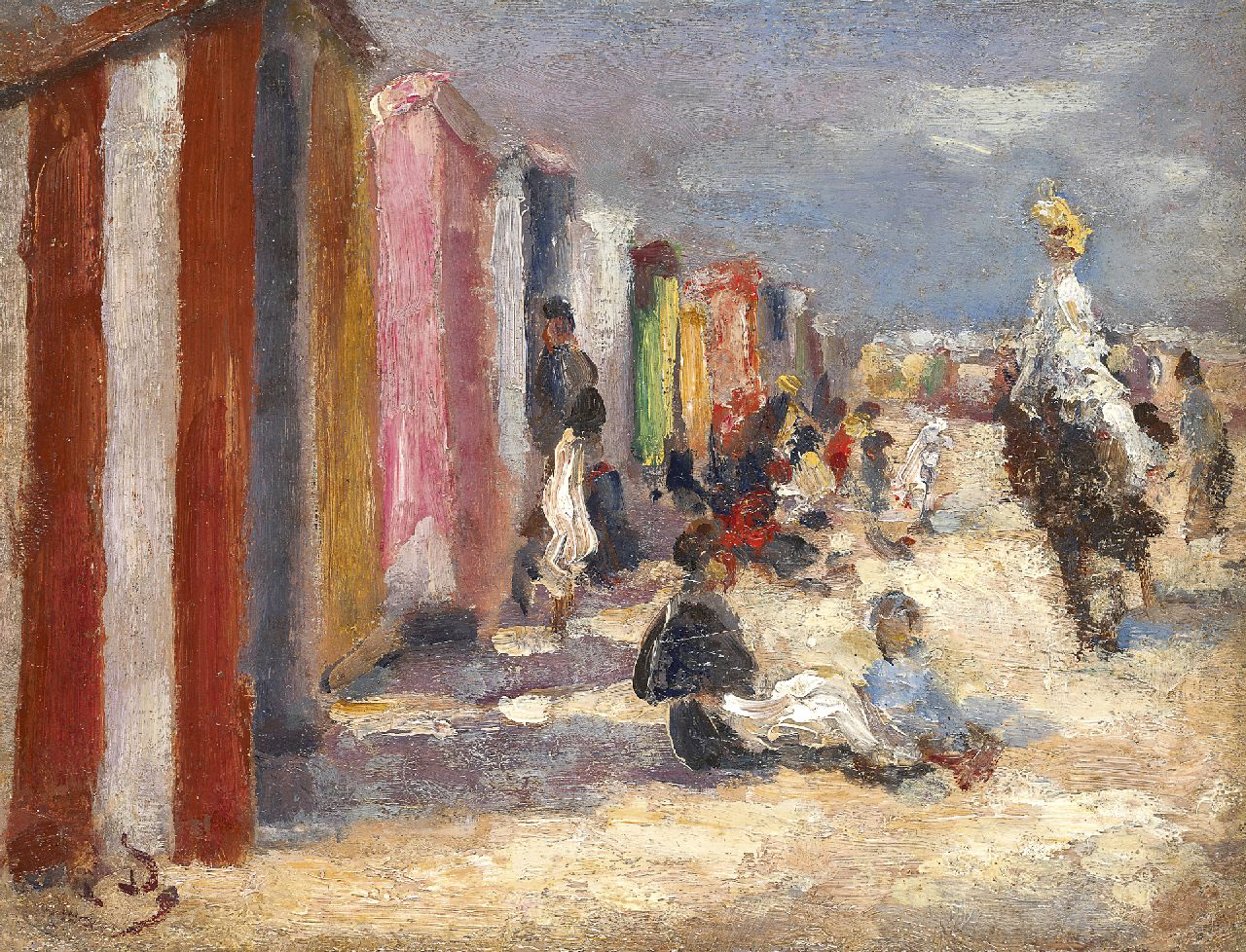 Léon Dufour | Beach scene, oil on panel, 13.8 x 18.0 cm, signed l.l. with monogram