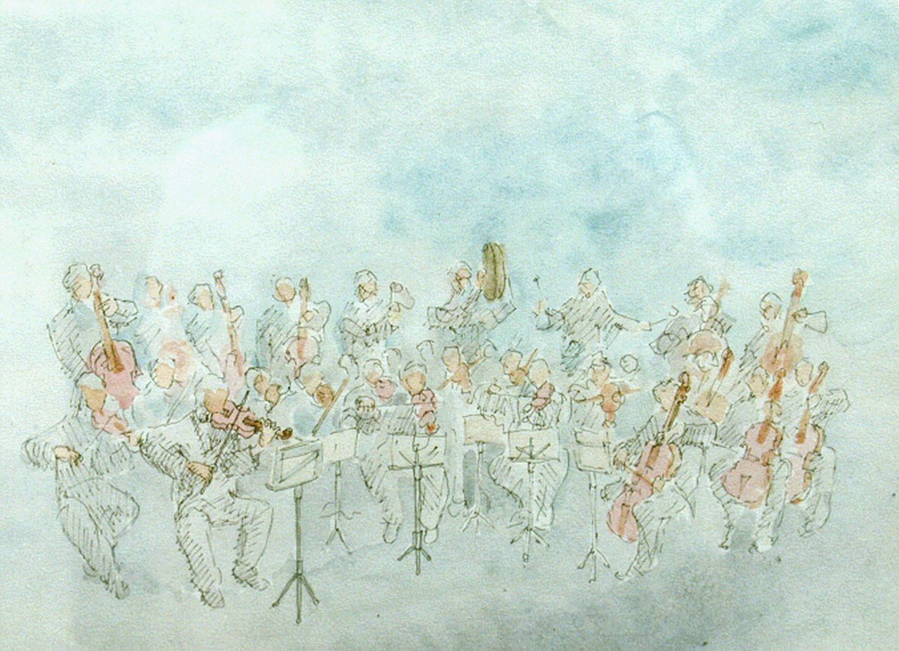 M. del Cheto | The orchestra, watercolour on paper, 24.0 x 30.5 cm, signed l.r. with monogram and dated '84