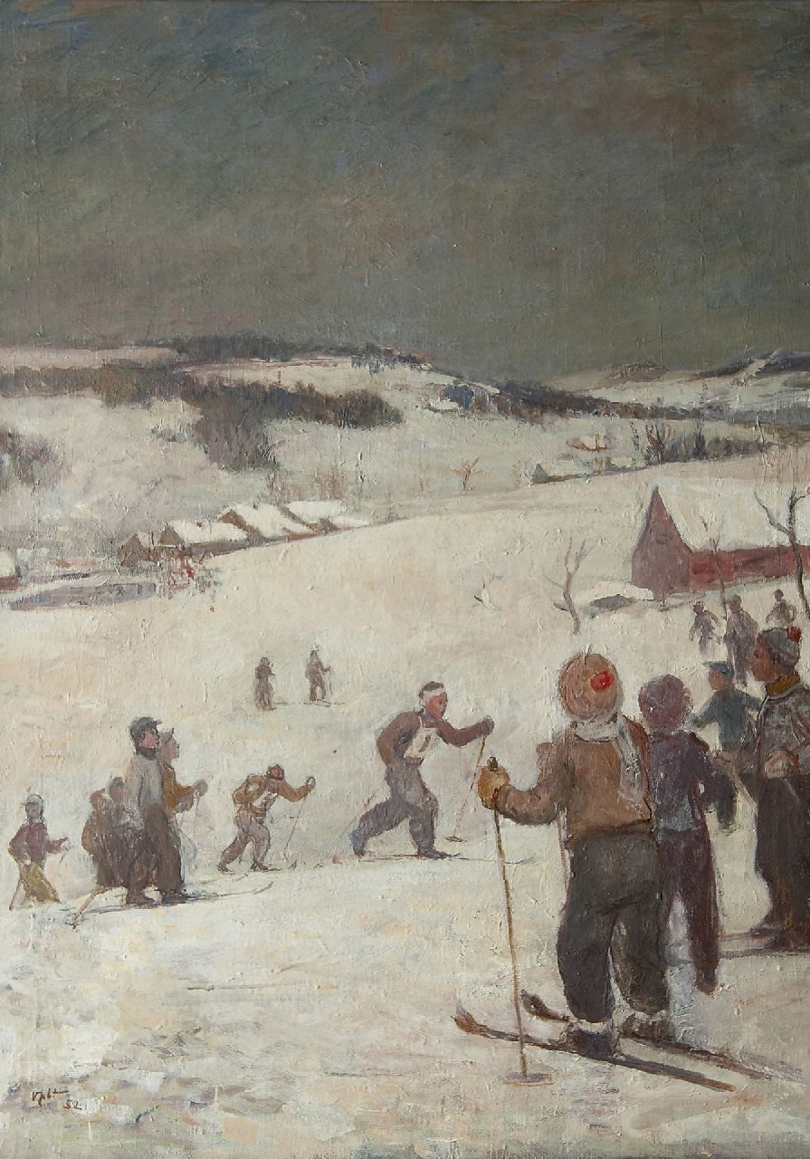 Oldřich Oplt | The skiing race, oil on canvas, 99.7 x 72.8 cm, signed l.l. and dated '52