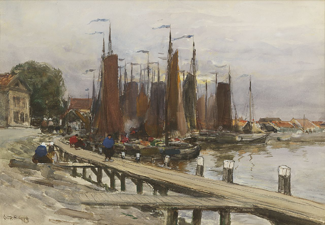 Gruppe C.P.  | Charles Paul Gruppe, The harbour of Volendam, watercolour and gouache on paper 34.3 x 49.9 cm, signed l.l.