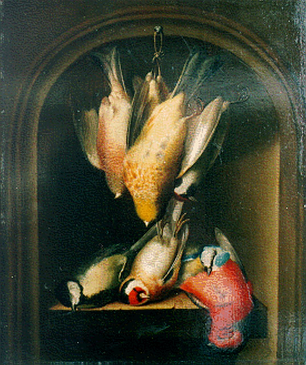 Elise Sturmer | Still life with dead birds in a niche, oil on panel, 31.8 x 27.1 cm, signed l.l. and dated 1828