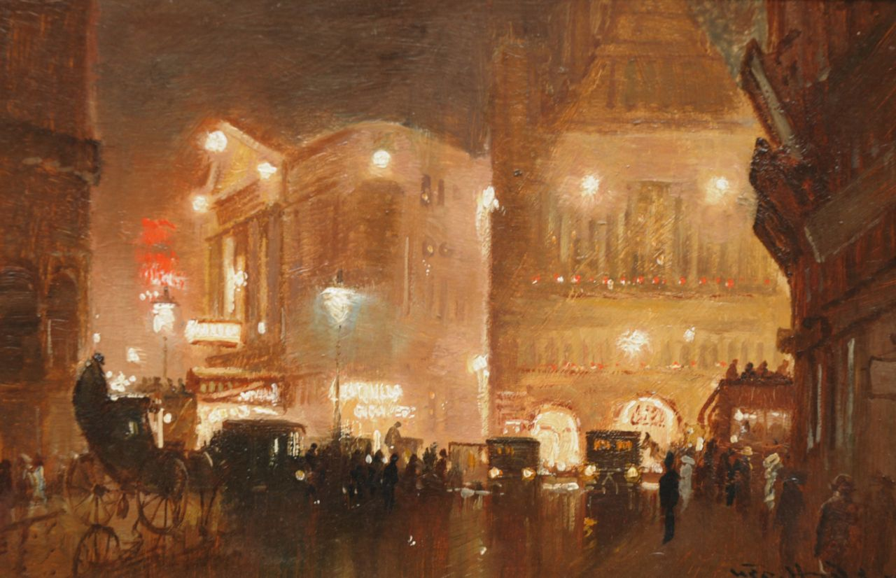Hyde-Pownall G.  | George Hyde-Pownall, Evening in Haymarket, London, oil on painter's board 15.2 x 23.3 cm, signed l.r.