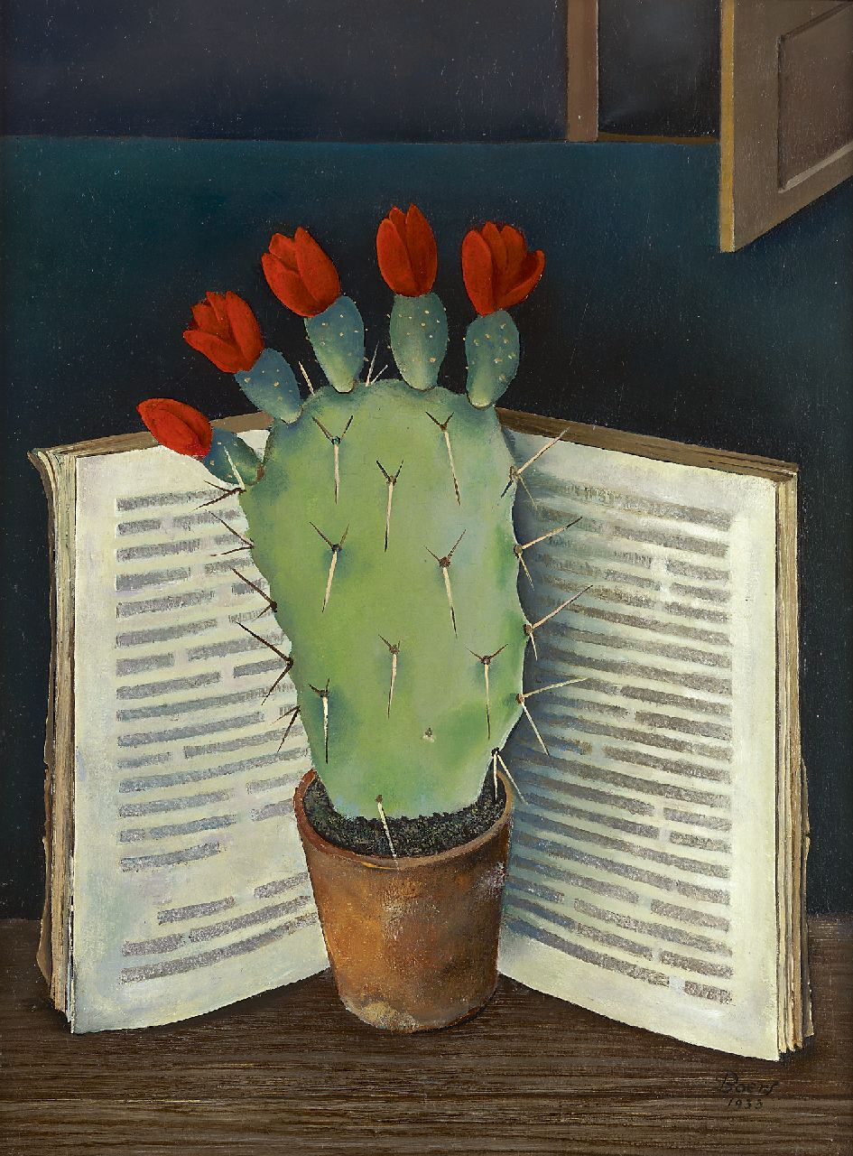 Boers W.H.F.  | 'Willy' Herman Friederich Boers, Blossoming cactus, oil on panel 40.0 x 30.0 cm, signed l.r. and on the reverse and painted in 1933