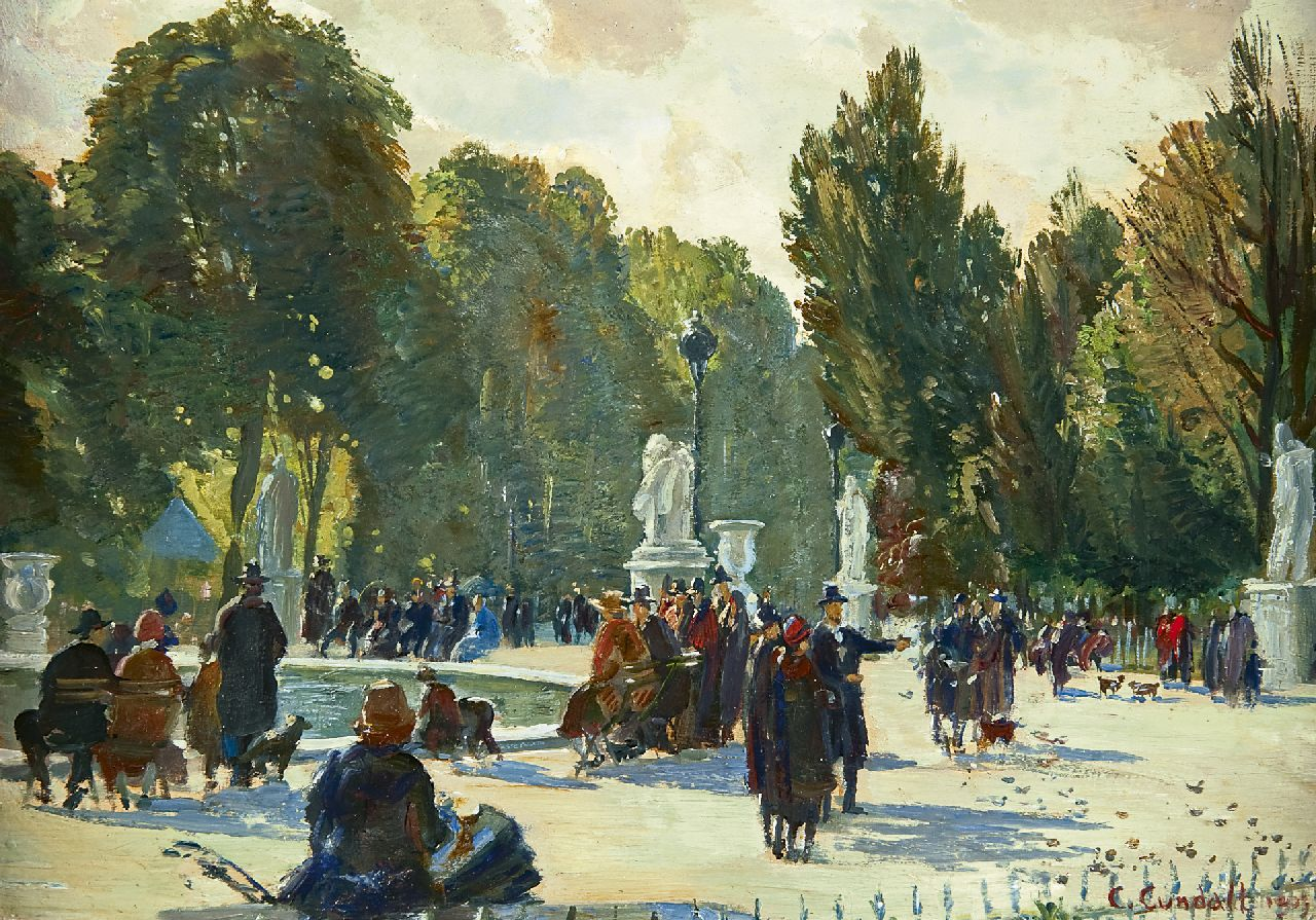 Charles-Ernest Cundall | Jardin des Tuilleries, Paris, oil on panel, 23.5 x 32.9 cm, signed l.r. and dated 1939
