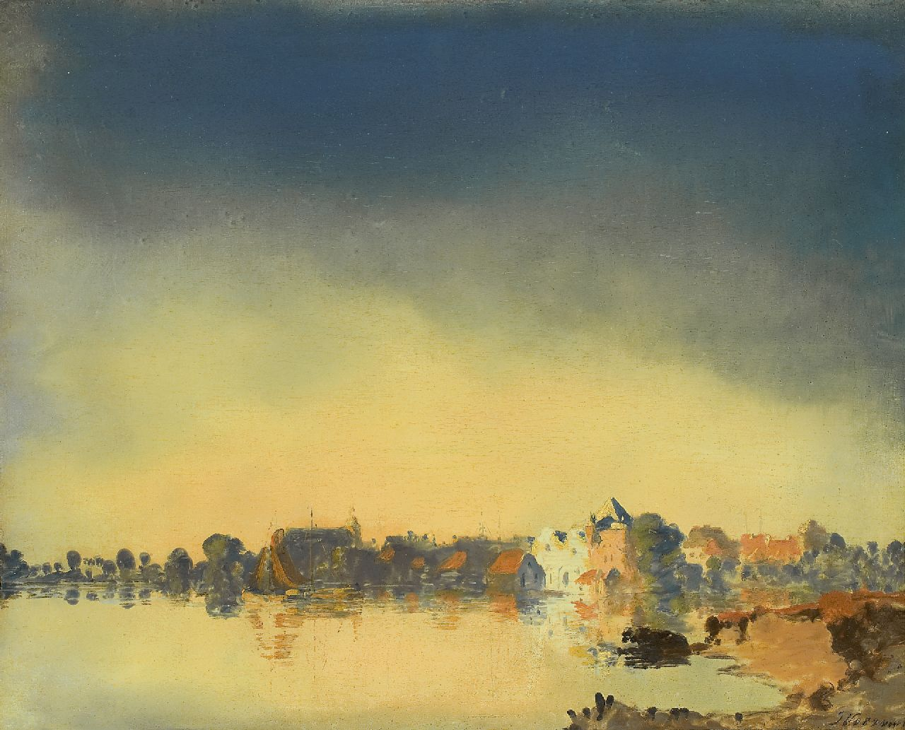 Voerman sr. J.  | Jan Voerman sr., Hattem on the river IJssel, oil on panel 41.4 x 51.6 cm, signed l.r.