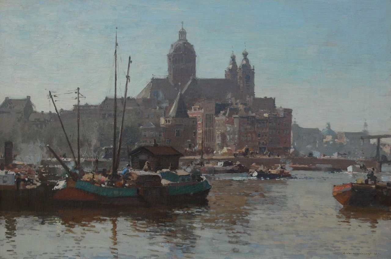 Vreedenburgh C.  | Cornelis Vreedenburgh, A view of the IJ and the St.-Nicolaas church in Amsterdam, oil on canvas 40.2 x 60.2 cm, signed l.r. and dated 1927