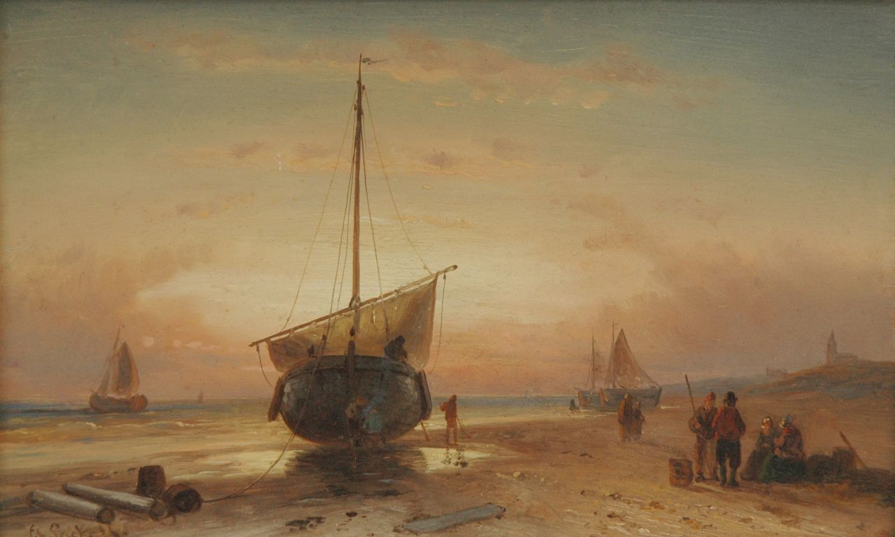 Leickert C.H.J.  | 'Charles' Henri Joseph Leickert, Barge on the beach at sunset, oil on panel 16.2 x 26.2 cm, signed l.l.