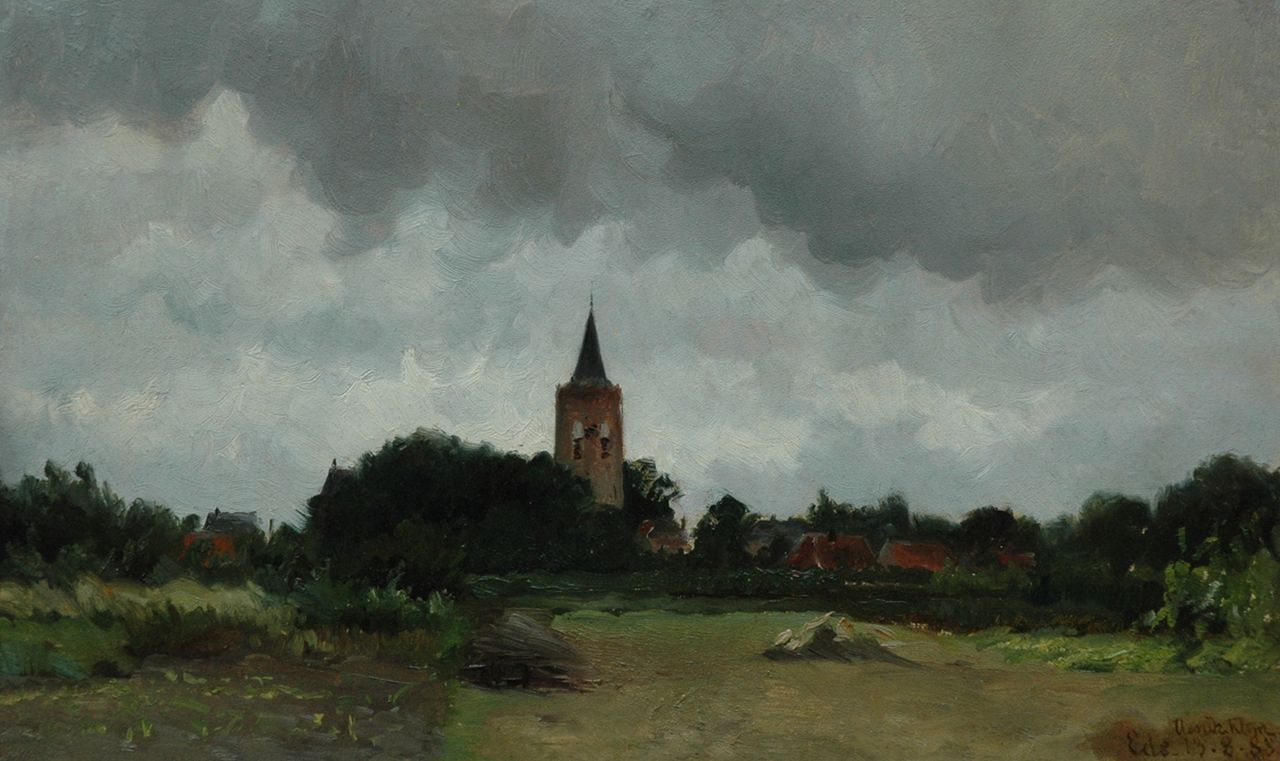 Hendrik Klijn | View on Ede, oil on paper laid down on panel, 31.1 x 51.5 cm, signed l.r. and dated 'Ede - 13,8,88'