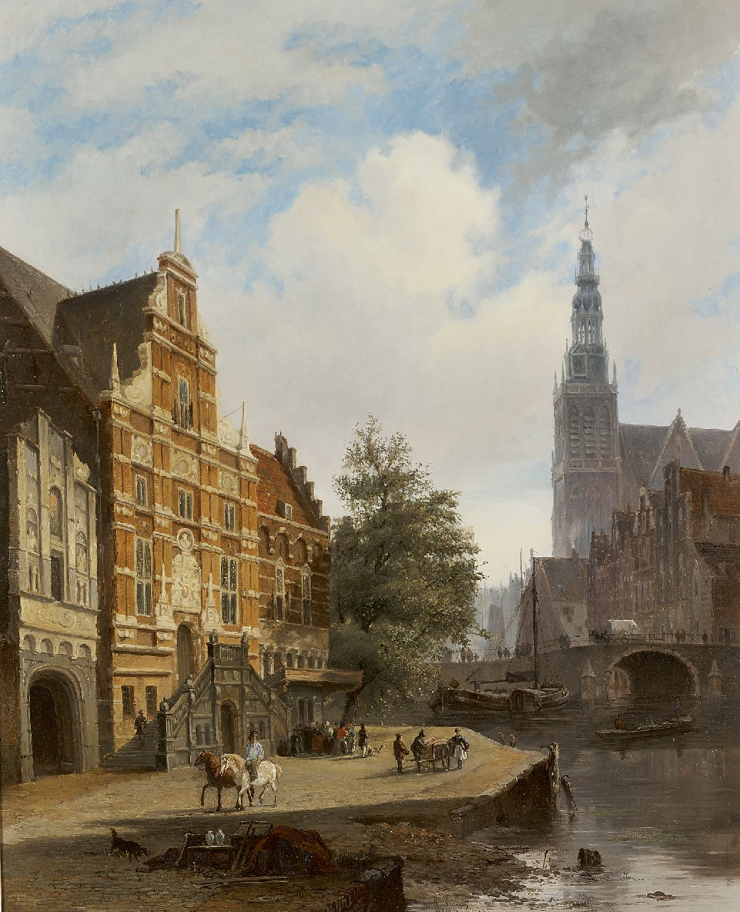 Hardenberg L.  | Lambertus Hardenberg, A Dutch town view, oil on panel 62.5 x 51.5 cm, painted circa 1840